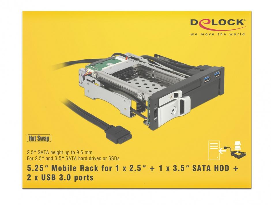 "Imagine Rack intern 5.25"" pentru HDD SATA 2.5"" + 3.5"", 2xUSB 3.0, Delock 47209"