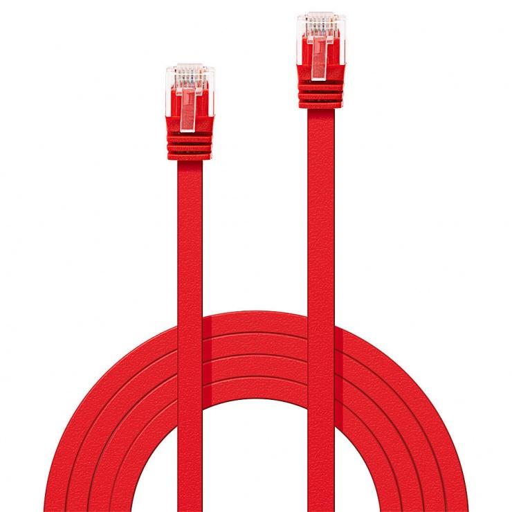 Imagine Cablu de retea cat 6 UTP Flat rosu 1m, Lindy L47511