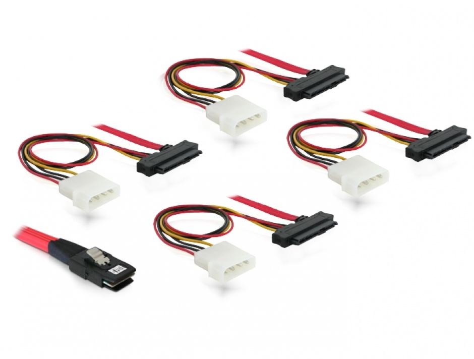 Imagine Cablu mini SAS SFF-8087 la 4 x SAS SFF-8482 + alimentare 50cm, Delock 83059-1