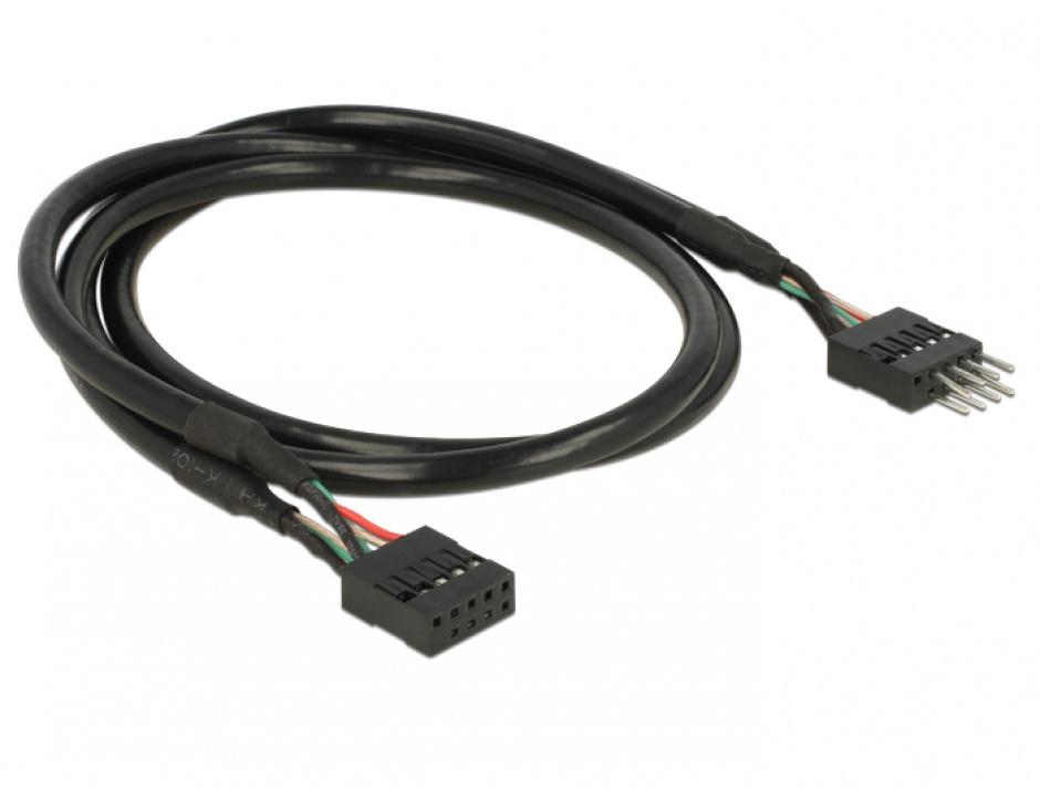 Imagine Cablu prelungitor pin header USB 2.0 10 pini T-M 50cm, Delock 83874