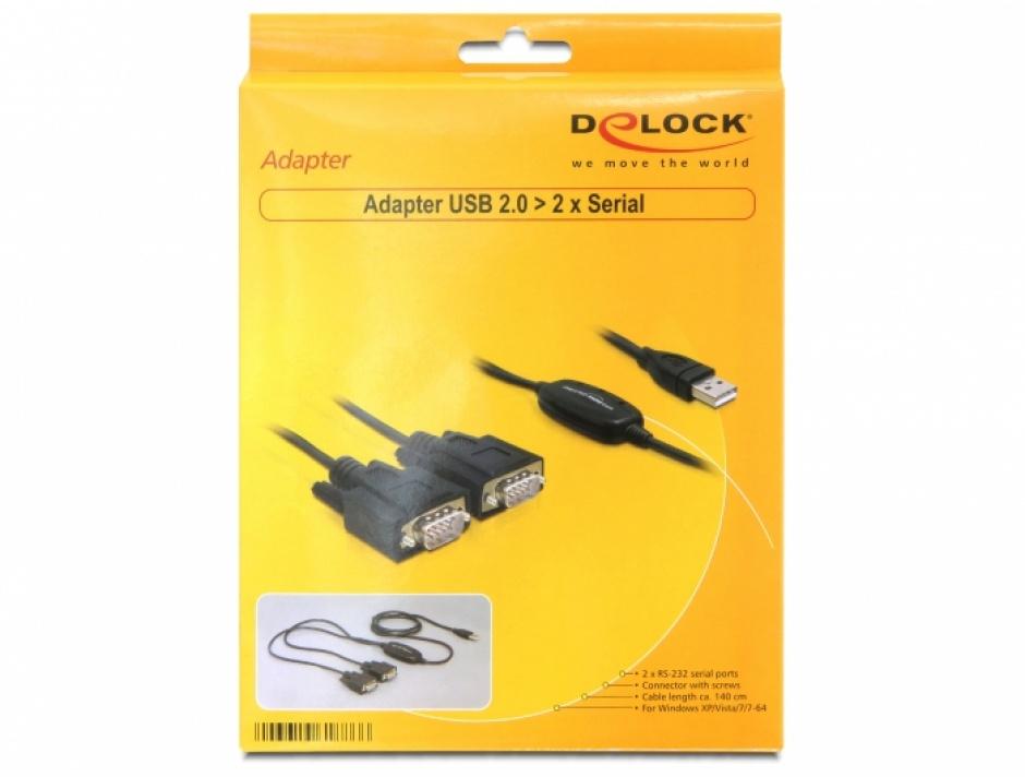 Imagine Cablu USB la 2 x Serial RS232 FTDI 1.4m, Delock 61886-3