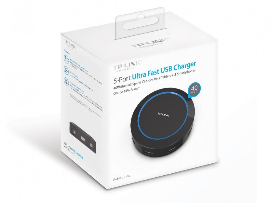 Imagine Incarcator priza cu 5 x USB 40W, TP-LINK UP540