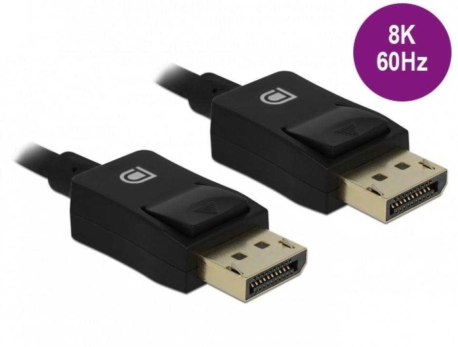 Imagine Cablu Displayport coaxial 8K60Hz T-T 3m Negru, Delock 85302