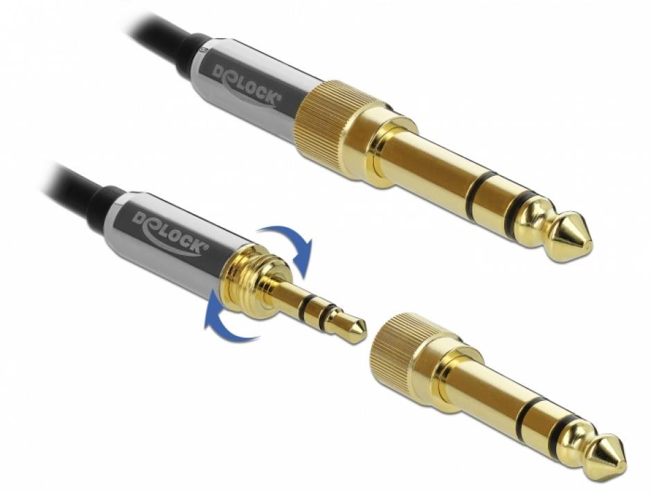 Imagine Cablu spiralat jack stereo 3.5mm 3 pini T-T + adaptor 6.35mm 3m, Delock 85838-3