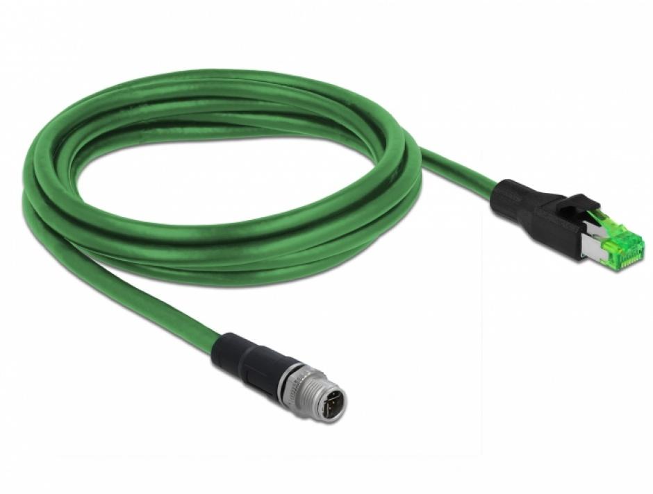 Imagine Cablu de retea M12 4 pini D-coded la RJ45 PVC 2m, Delock 85438-1