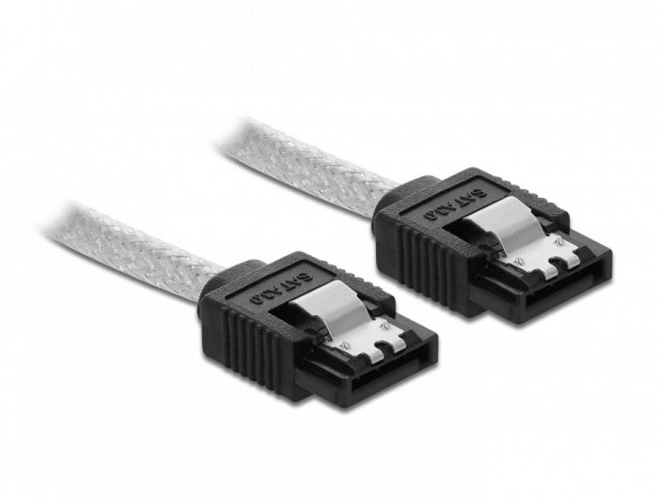 Imagine Cablu SATA III drept/drept 70cm Transparent, Delock 85343