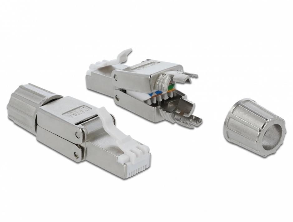Imagine Conector de retea RJ45 cat.6A STP toolfree, Delock 86477