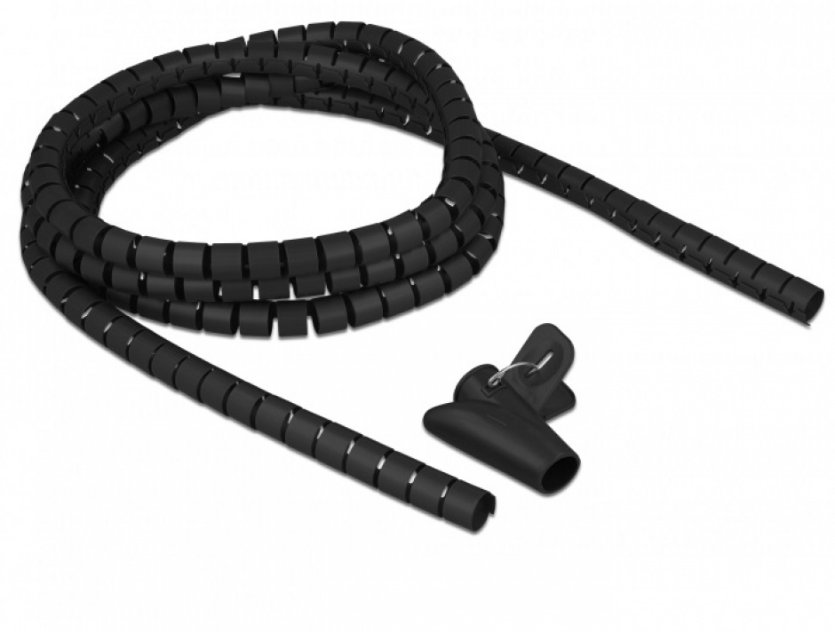 Imagine Organizator cabluri spiralat 2.5m x 15mm Negru, Delock 18835