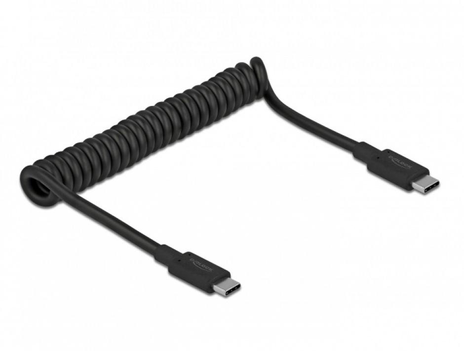 Imagine Cablu USB 3.1-C la tip C 3A E-Marker T-T spiralat 30-120cm Negru, Delock 85350