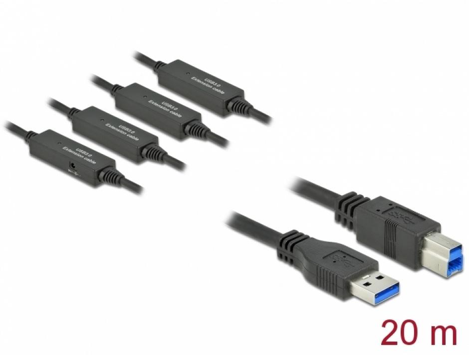 Imagine Cablu USB 3.2 Gen 1-A la USB-B activ T-T 20m Negru, Delock 85382