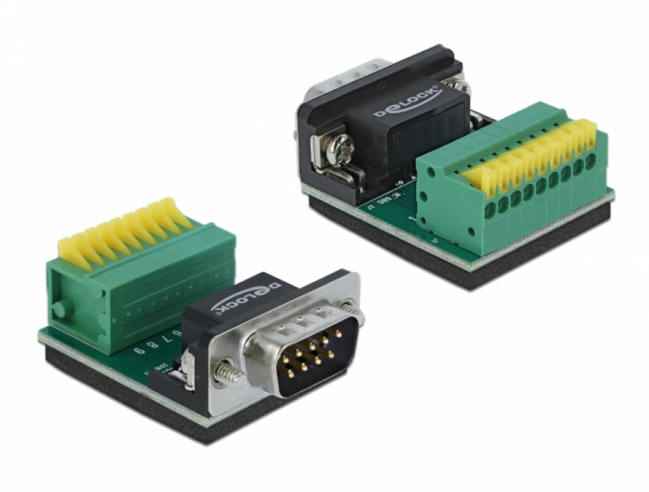 Imagine Bloc terminal 9 pini la serial DB9 RS232 tata cu Push Button, Delock 66321