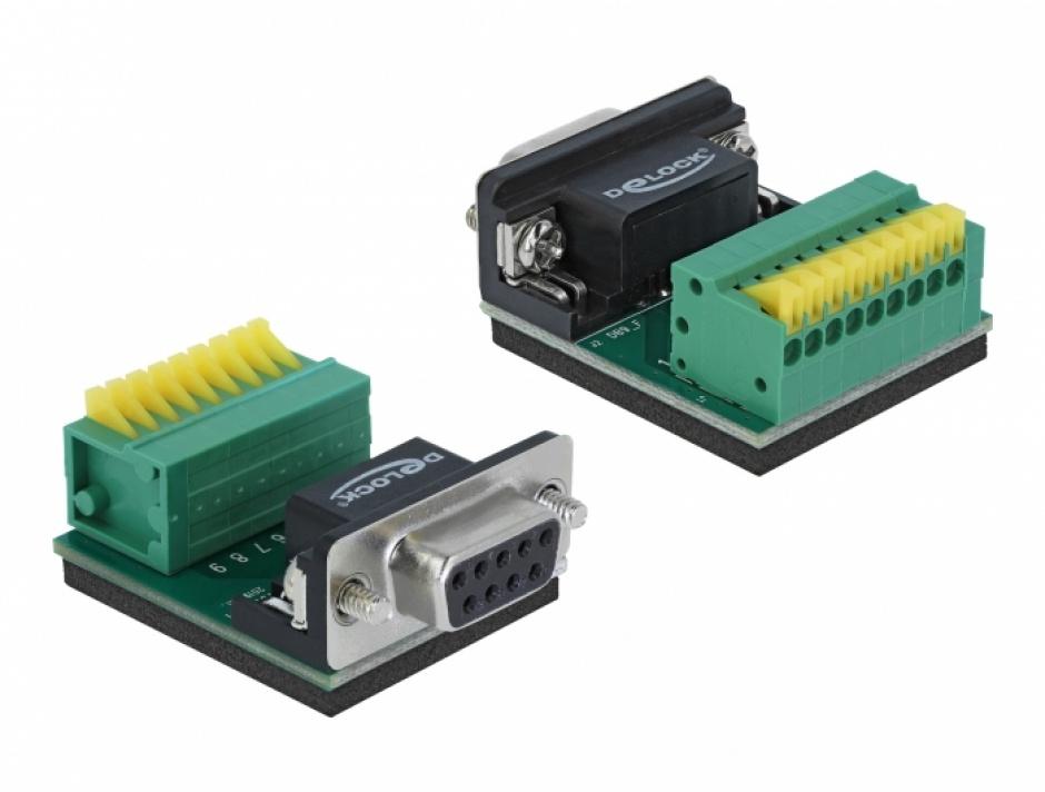 Imagine Bloc terminal 9 pini la serial DB9 RS232 mama cu Push Button, Delock 66322