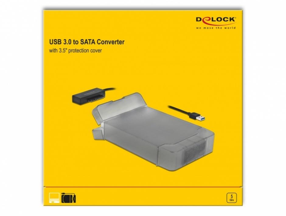 "Imagine Adaptor USB 3.0 la SATA III pentru HDD 3.5"" cu carcasa protectie 45cm, Delock 64086"