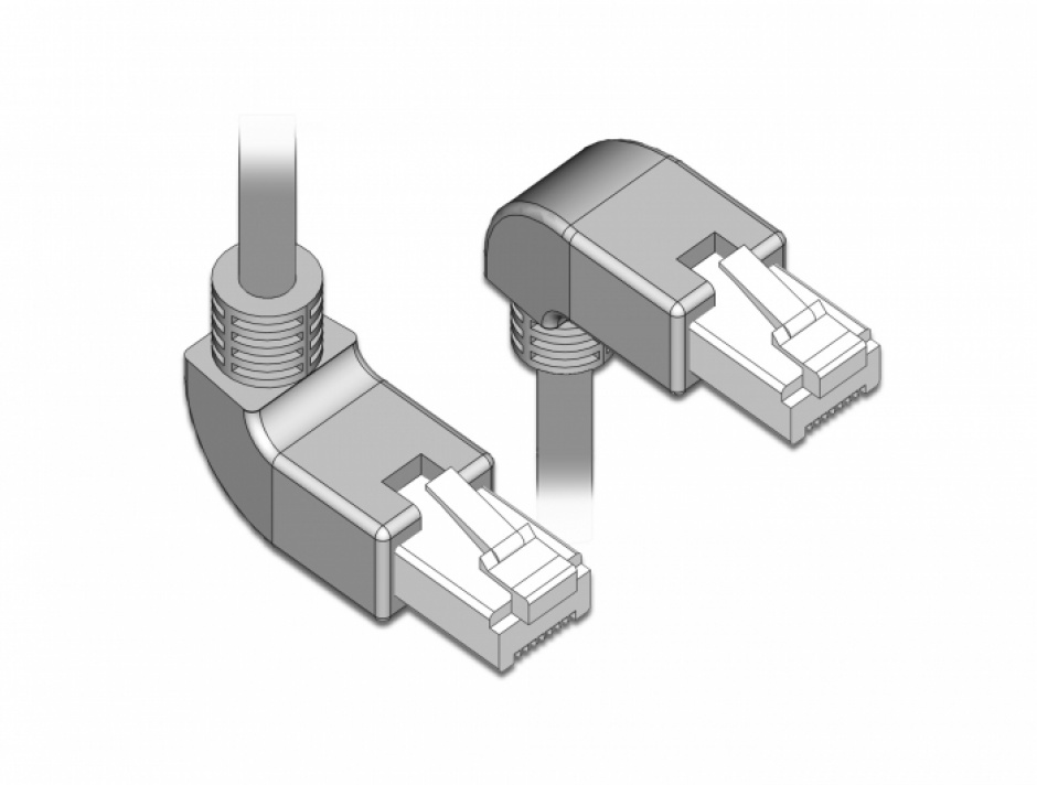 Imagine Cablu de retea RJ45 cat 6 S/FTP LSOH unghi jos/unghi sus 2m Gri, Delock 85863