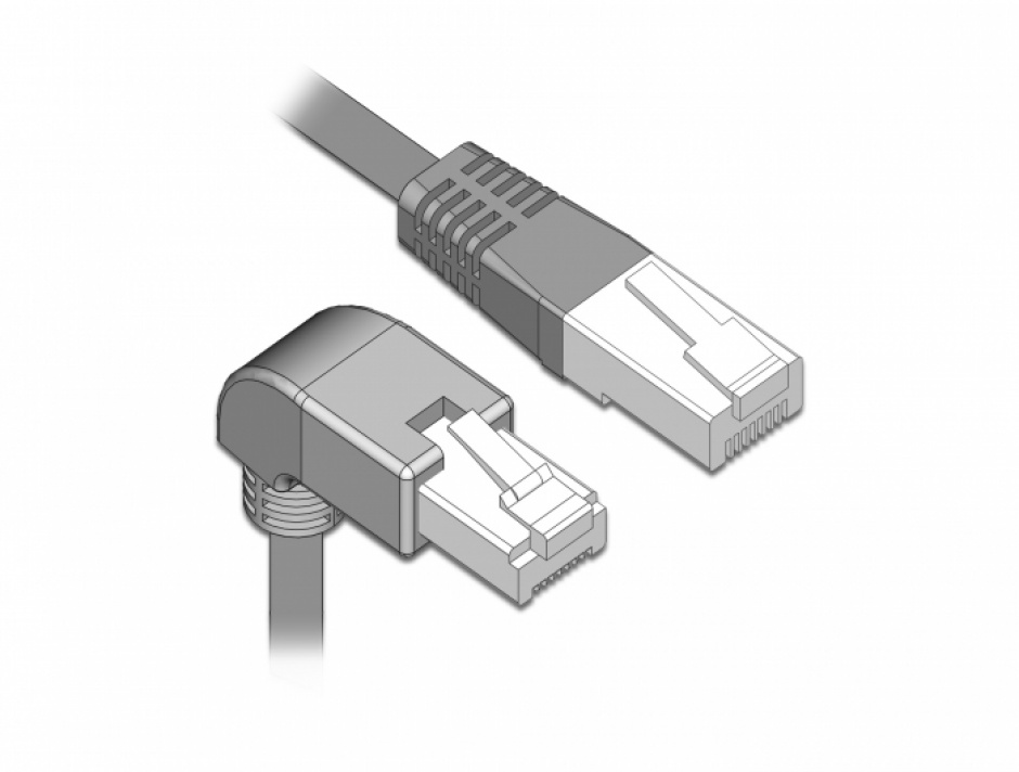 Imagine Cablu de retea RJ45 cat 6 S/FTP unghi jos/drept 0.5m Gri, Delock 85864