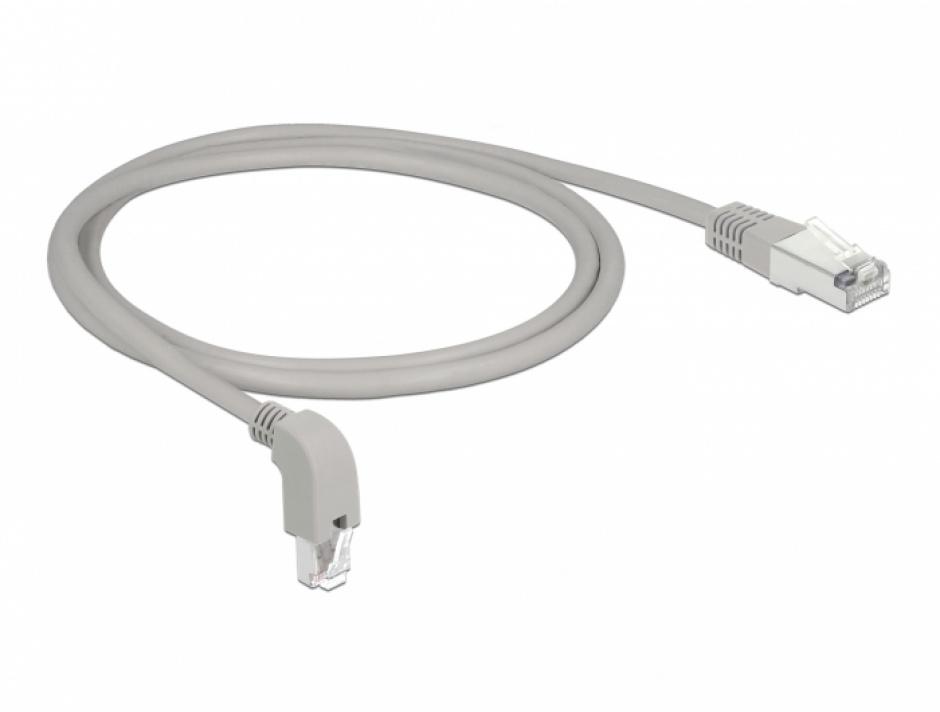 Imagine Cablu de retea RJ45 cat 6 S/FTP unghi jos/drept 1m Gri, Delock 85865