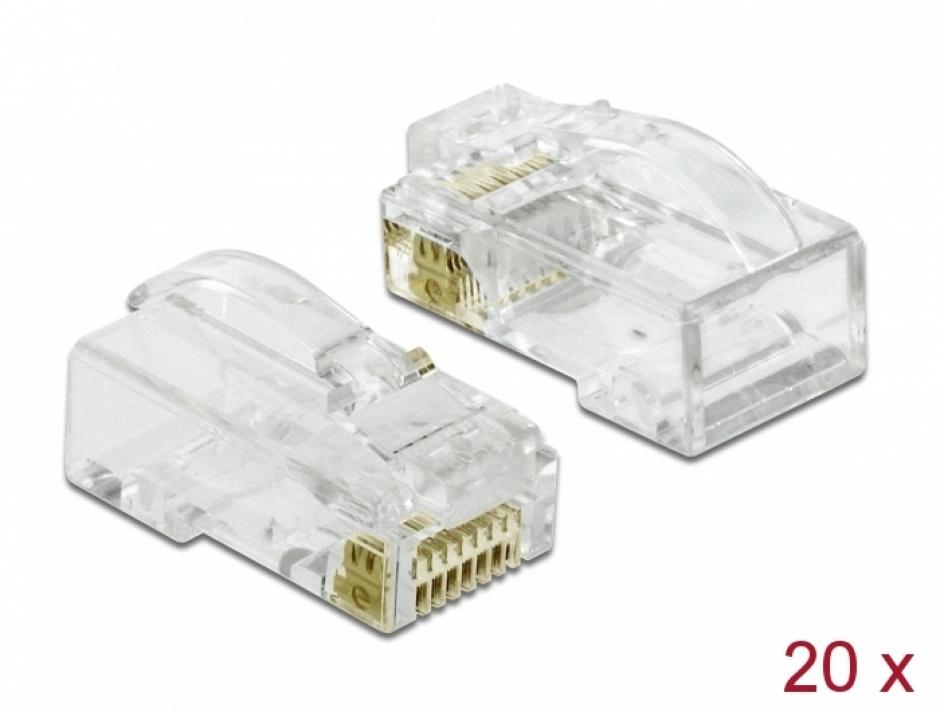 Imagine Set 20 buc conector RJ45 Cat.6 UTP Crimp+Cut+Curve, Delock 86473