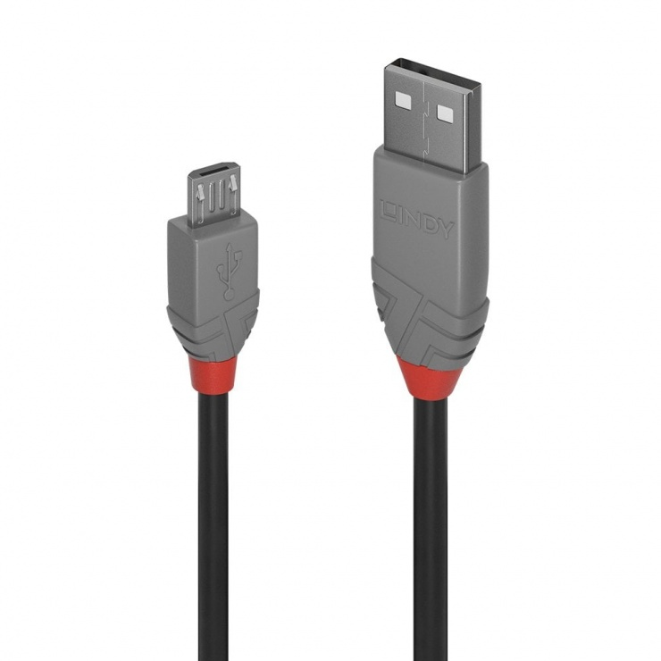 Imagine Cablu USB 2.0 la micro USB-B 5m T-T Anthra Line, Lindy L36735