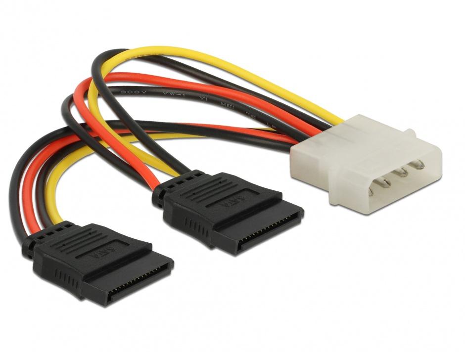 Imagine Cablu alimentare Molex la 2 x SATA T-M, Delock 60102