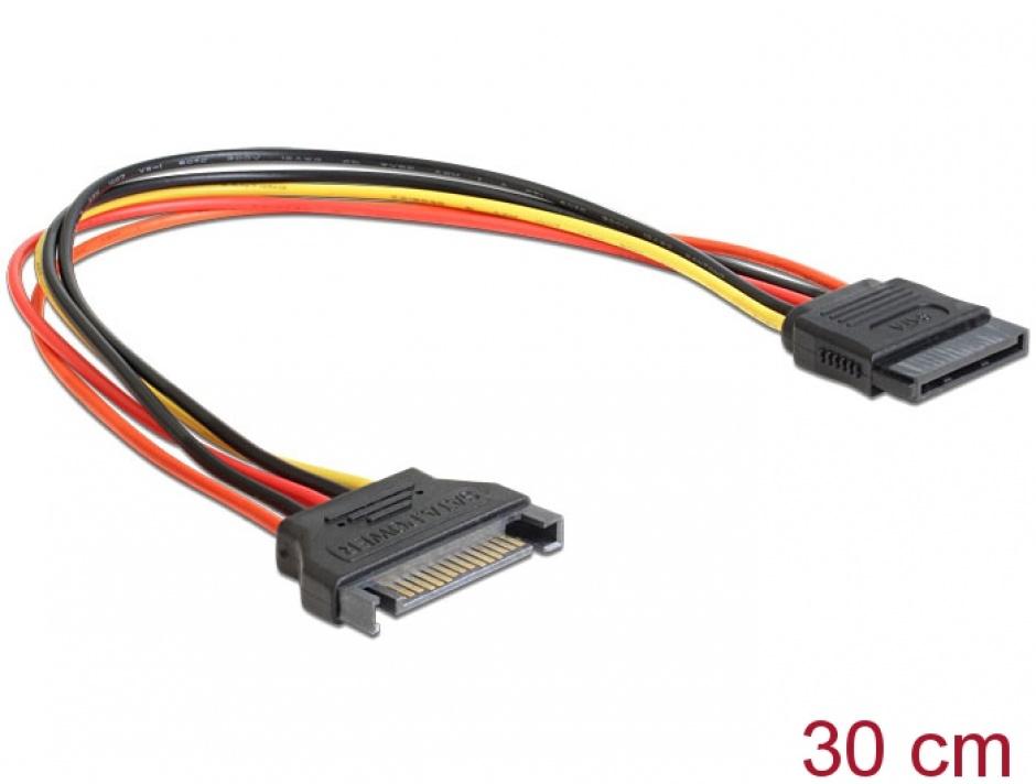 Imagine Cablu prelungitor alimentare SATA 15 pini, 30cm, Delock 60131