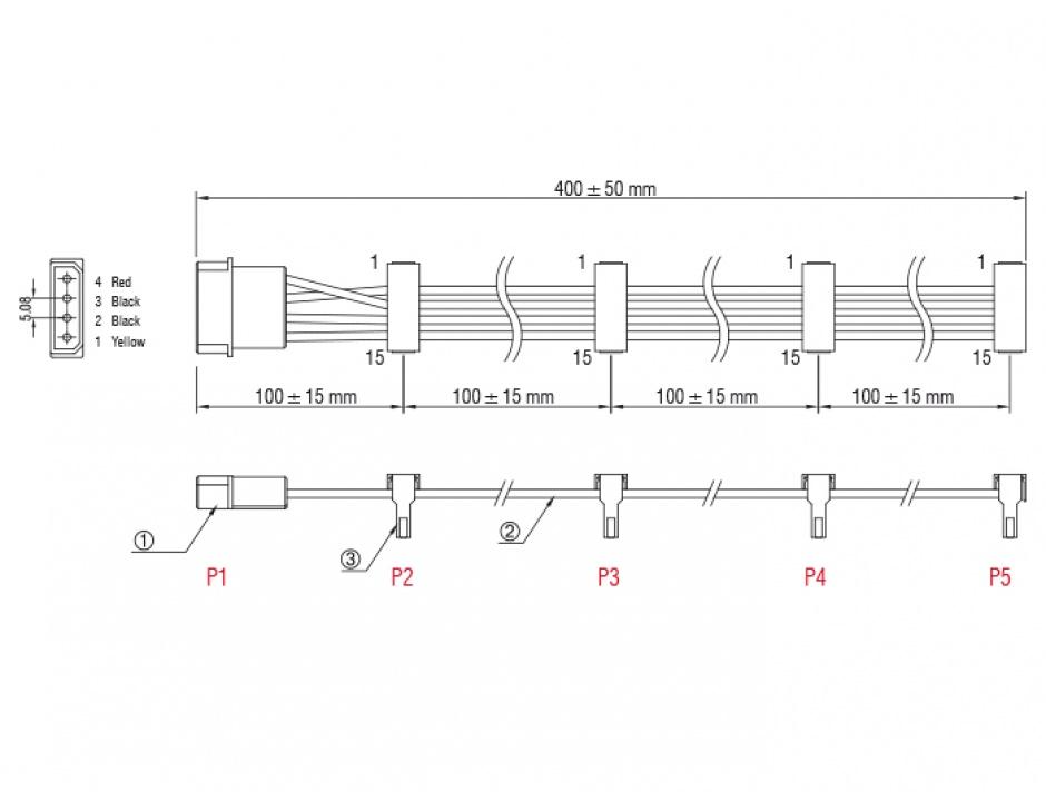 Imagine Cablu de alimentare Molex la 4 x SATA 15 pini 40cm, Delock 60142