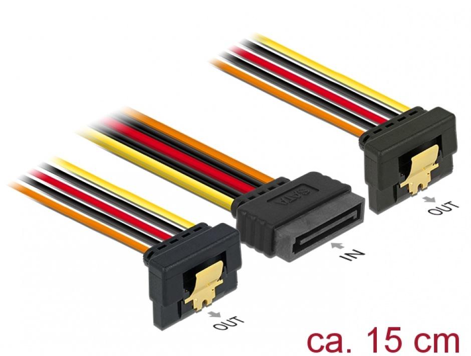Imagine Cablu alimentare SATA 15 pini la 2 x SATA clips metalic unghi T-M, Delock 60145