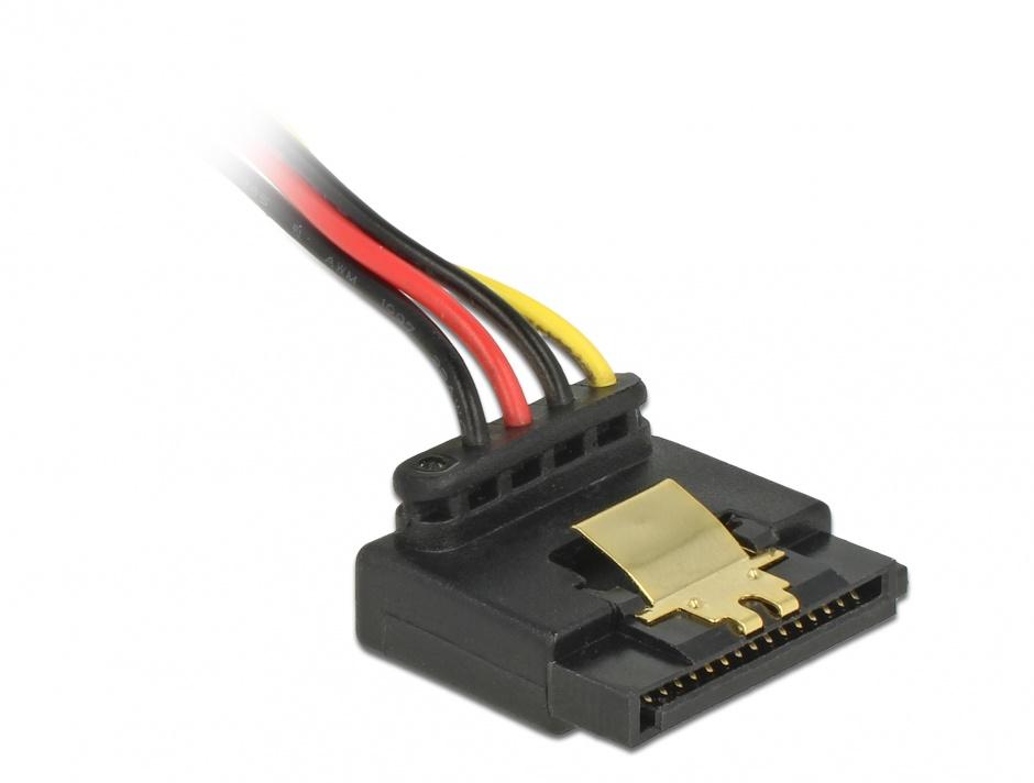 Imagine Cablu de alimentare SATA 15 pini la 2 x SATA drepte + 1 x unghi sus + 1 x unghi jos 15cm, Delock 601