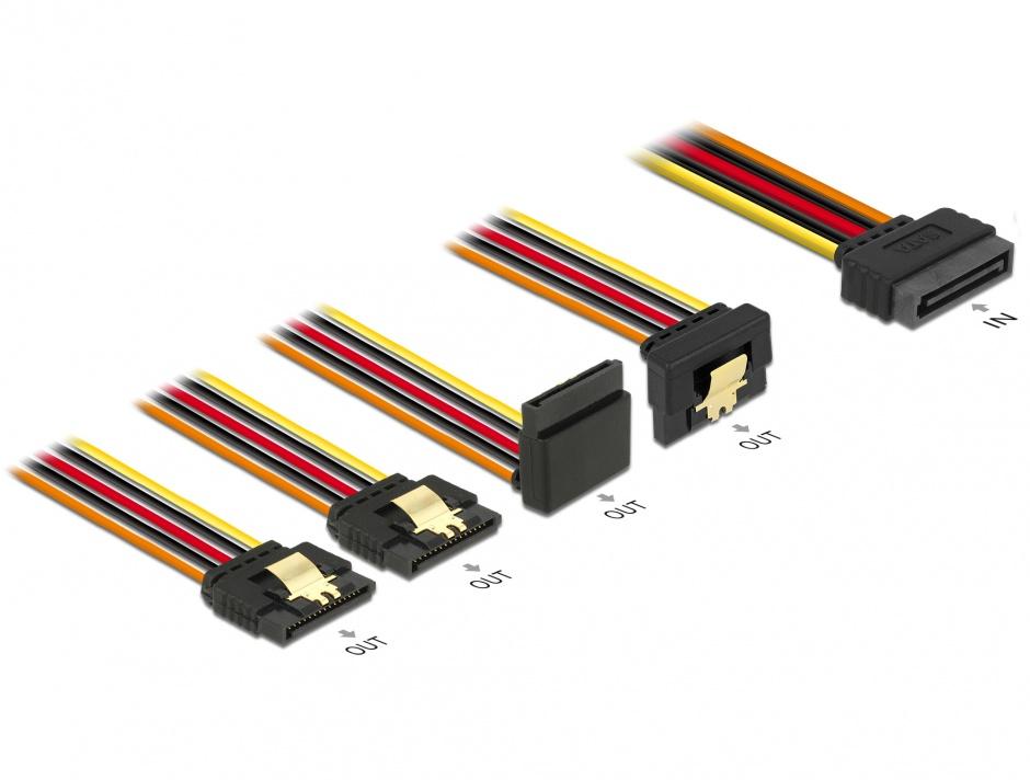 Imagine Cablu de alimentare SATA 15 pini la 2 x SATA drepte + 1 x unghi sus + 1 x unghi jos 30cm, Delock 60148