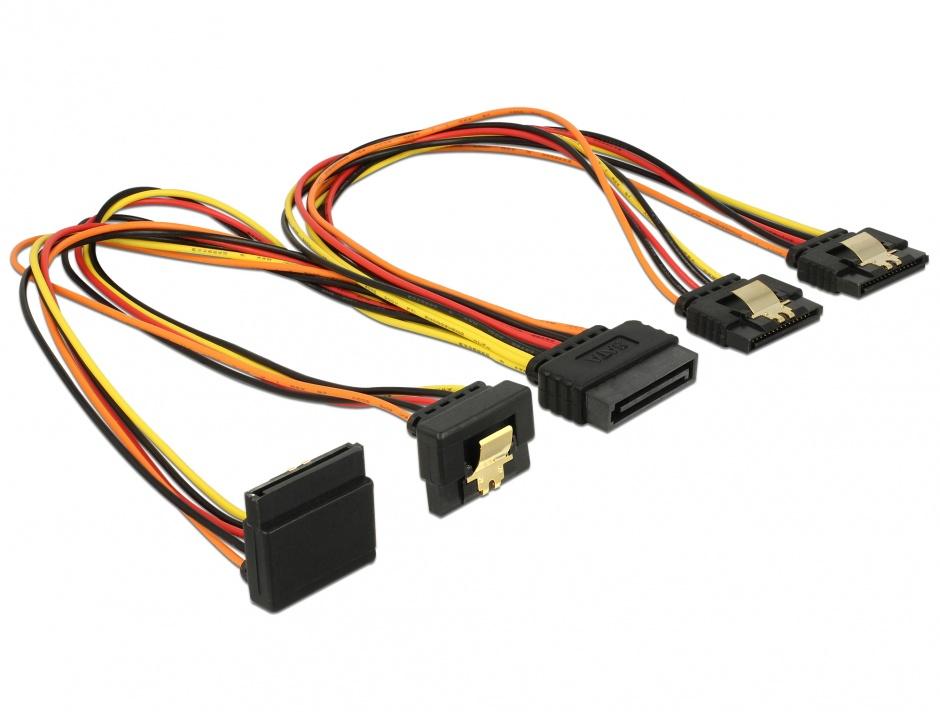 Imagine Cablu de alimentare SATA 15 pini la 2 x SATA drepte + 1 x unghi sus + 1 x unghi jos 30cm, Delock 601