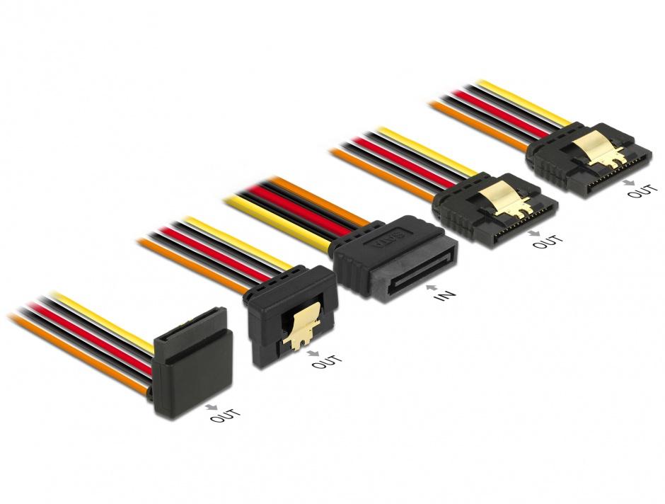 Imagine Cablu de alimentare SATA 15 pini la 2 x SATA drepte + 1 x unghi sus + 1 x unghi jos 50cm, Delock 60149