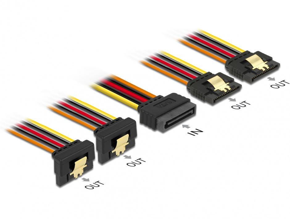 Imagine Cablu de alimentare SATA 15 pini la 2 x SATA drept + 2 x SATA unghi jos 15cm, Delock 60150
