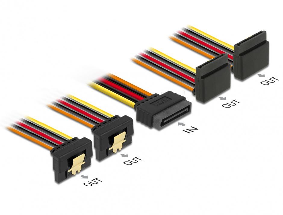 Imagine Cablu de alimentare SATA 15 pini la 2 x SATA unghi sus + 2 x SATA unghi jos 50cm, Delock 60155