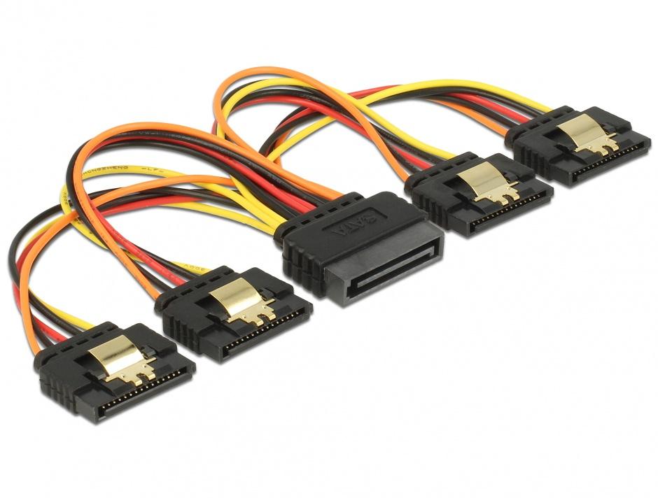 Imagine Cablu de alimentare SATA 15 pini la 4 x SATA 15cm, Delock 60156