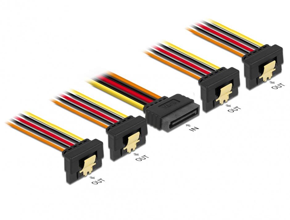 Imagine Cablu de alimentare SATA 15 pini la 4 x SATA unghi jos 15cm, Delock 60166