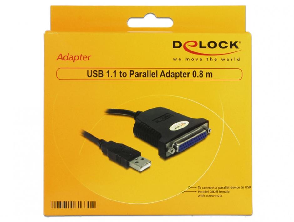 Imagine Cablu USB la paralel 25 pini 0.8m, Delock 61330