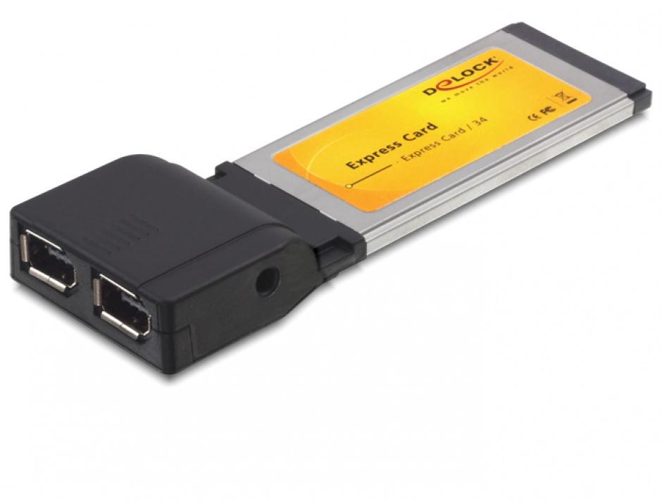 Imagine Placa Express Card la 2 x FireWire 600 chipset TI, Delock 61387