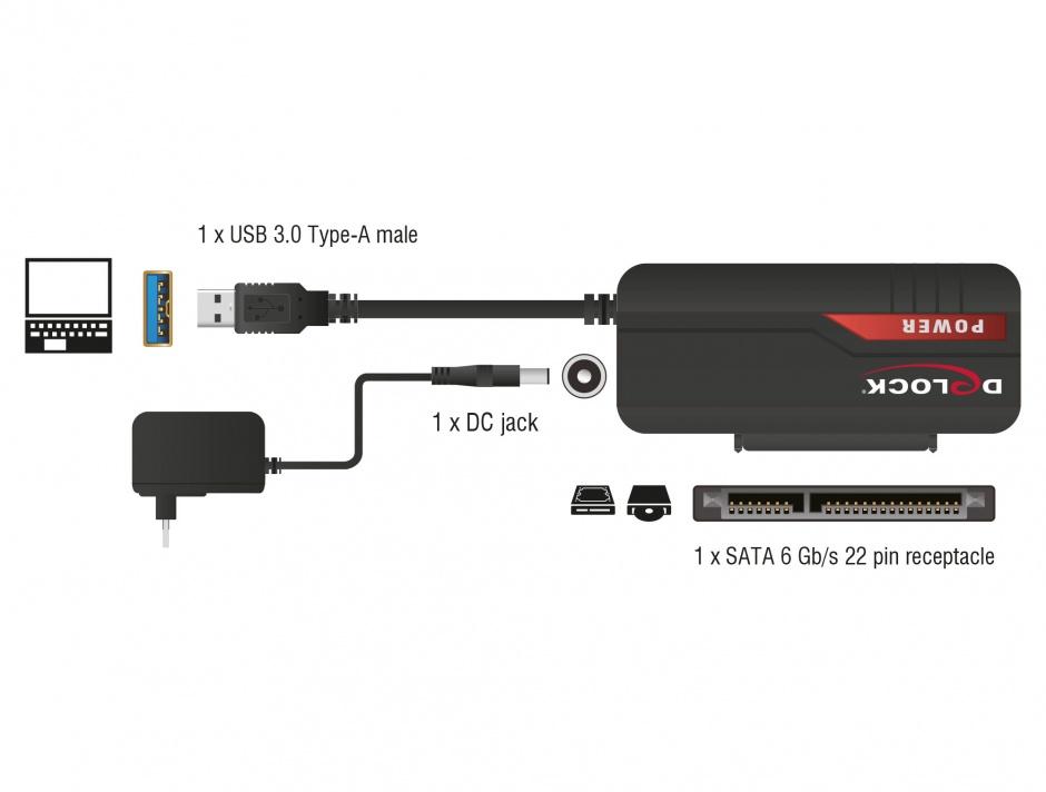 "Imagine Adaptor portabil USB 3.0 la SATA III 2.5""/3.5"" HDD, Delock 61757"