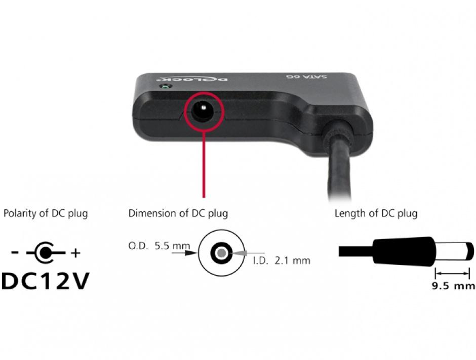 "Imagine Adaptor USB 3.0 la SATA III 6Gb/s 2.5""/3.5"" HDD, Delock 61882"