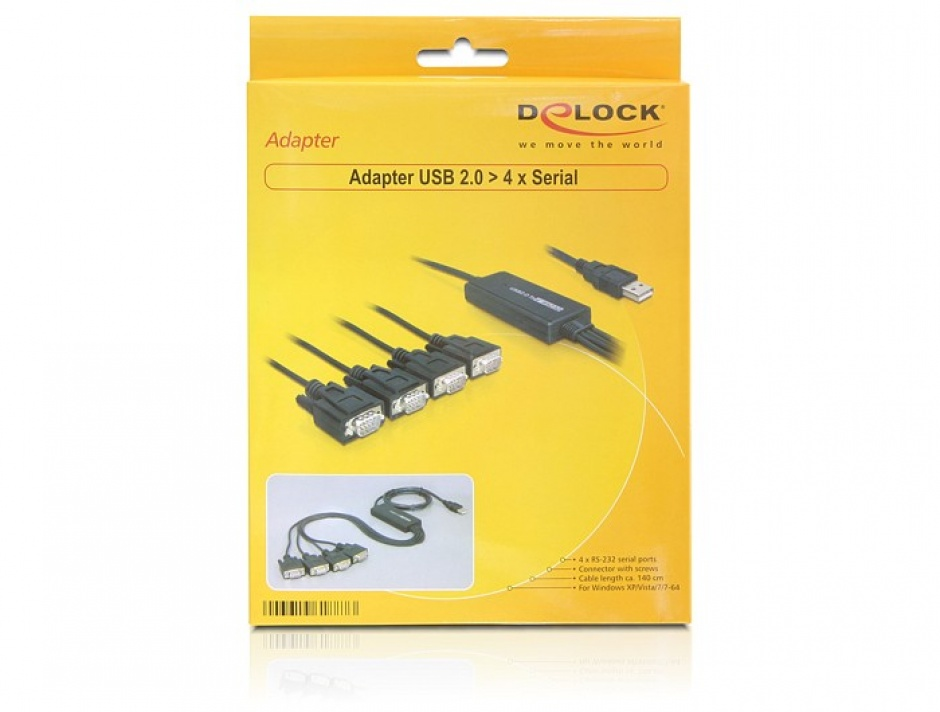 Imagine Cablu USB la 4 x Serial RS232 FTDI 1.4m, Delock 61887