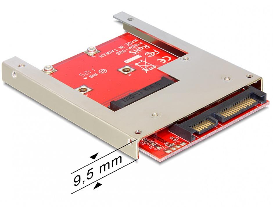 Imagine Adaptor SATA 22 pini la mSATA 9.5mm full size, Delock 61892
