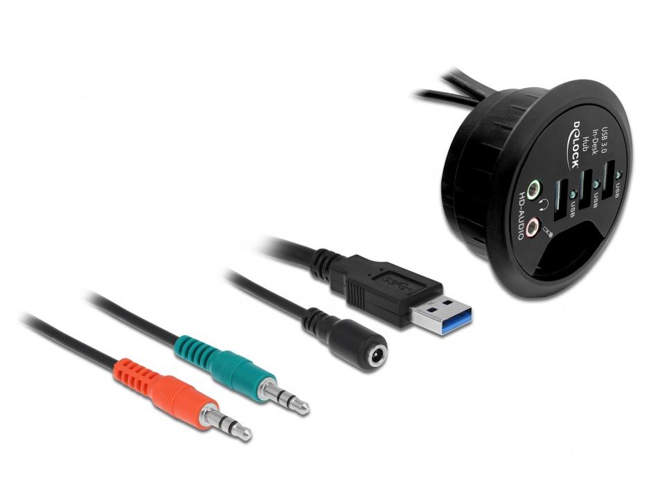 Imagine Hub 3 Porturi USB 3.0 + porturi audio, Delock 61990