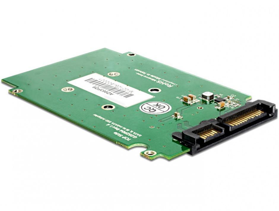 """Imagine Adaptor SATA 22pini la mSATA cu frame 2.5"""", Delock 62432"""