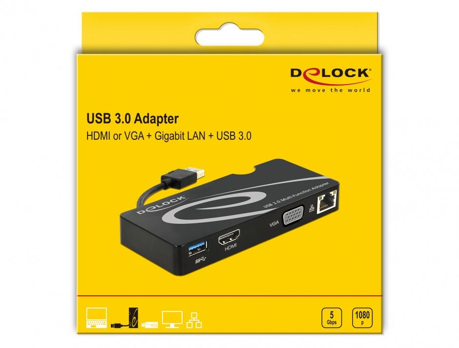 Imagine Docking station USB 3.0 la HDMI / VGA + Gigabit LAN + USB 3.0, Delock 62461