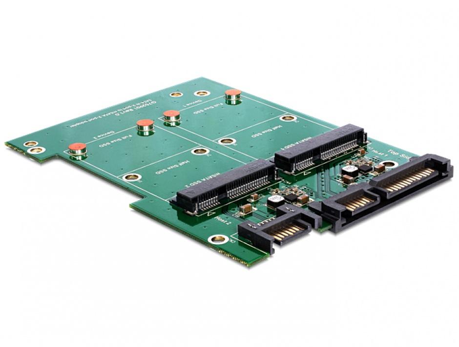 """Imagine Convertor SATA 22 pini + 7 pini la 2 x mSATA frame 3.5"""", Delock 62480"""