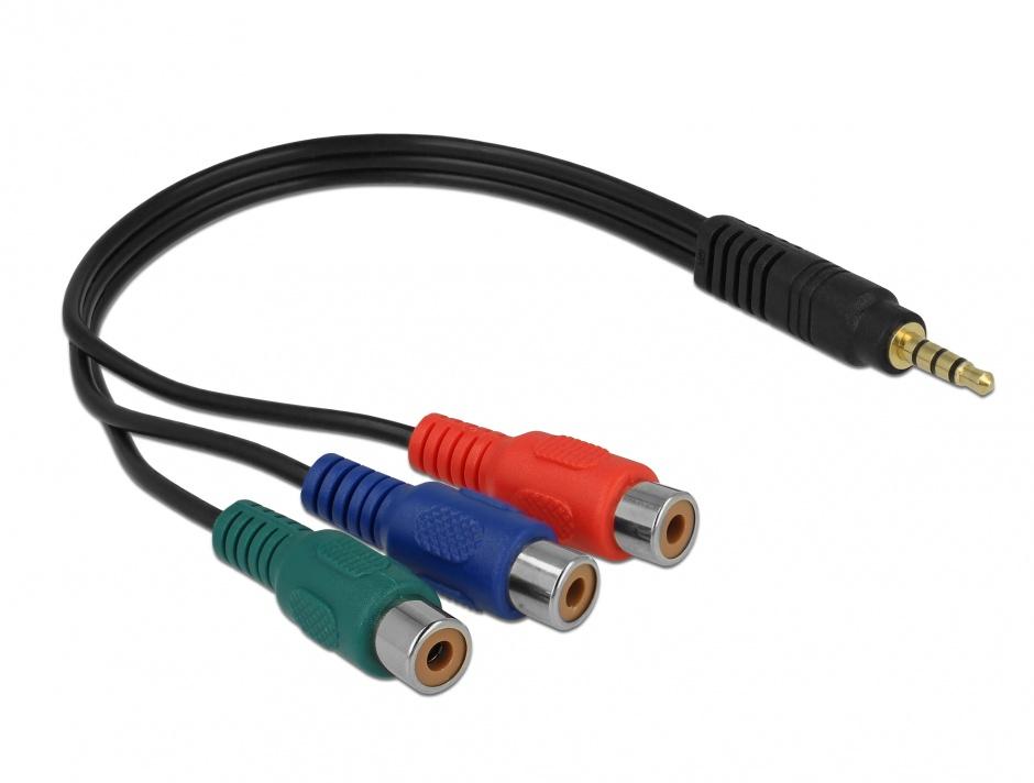 Imagine Cablu video 3 x RCA la jack Stereo 3.5 mm 4 pini M-T, Delock 62499