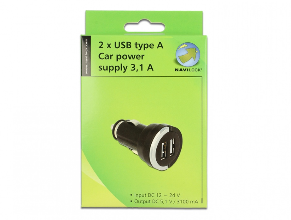 Imagine Incarcator auto 2 x USB 3A, Navilock 62515