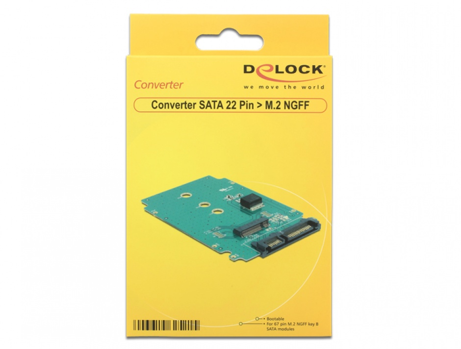 Imagine Convertor SATA 22 pini la M.2 NGFF, Delock 62521