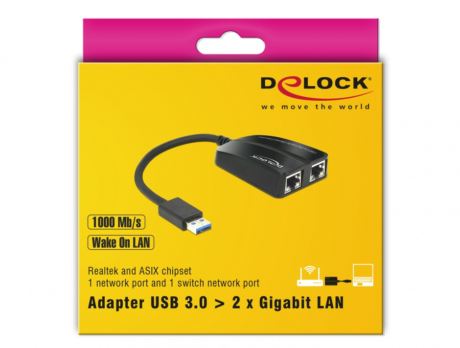 Imagine Adaptor USB 3.0 la 2 x Gigabit LAN 10/100/1000 Mb/s, Delock 62583