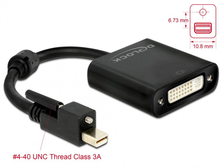 Imagine Adaptor mini Displayport 1.2 la DVI prindere cu surub T-M 4K Activ, Delock 62639