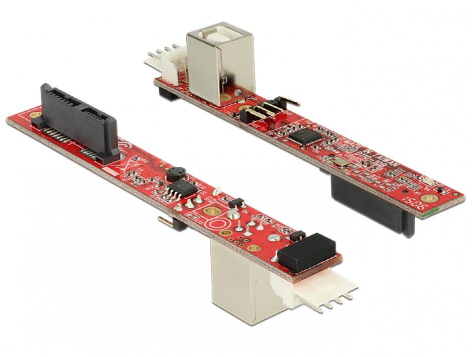 Imagine Convertor Slim SATA 13 pini la USB 2.0-B, Delock 62651